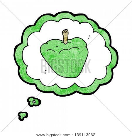 freehand drawn thought bubble textured cartoon organic apple