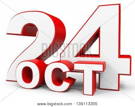 October 24. 3D Text On White Background.