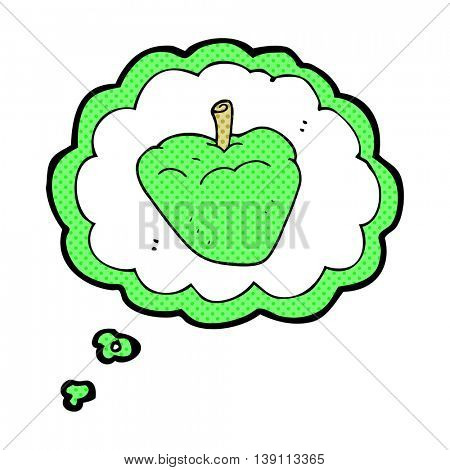 freehand drawn thought bubble cartoon organic apple