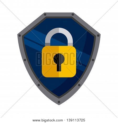 Security and Protection concept represented by padlock icon inside shield. Colorfull and flat illustration.