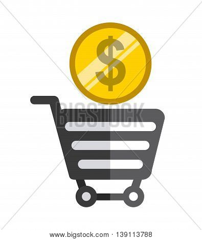 Commerce concept represented by shopping bag and coin icon. Colorfull and flat illustration.