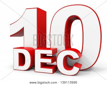 December 10. 3D Text On White Background.