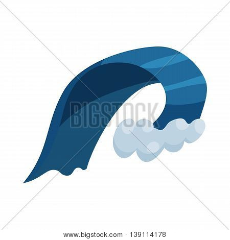 Natural disaster insurance. Big wave of tsunami icon in cartoon style isolated on white background