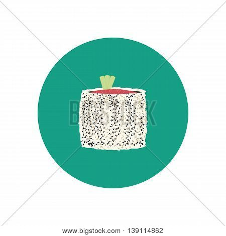 Sushi roll with salmon cucumber and sesame. Japanese cuisine. Vector illustration