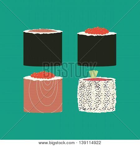 Sushi rolls set. Japanese cuisine. Vector illustration