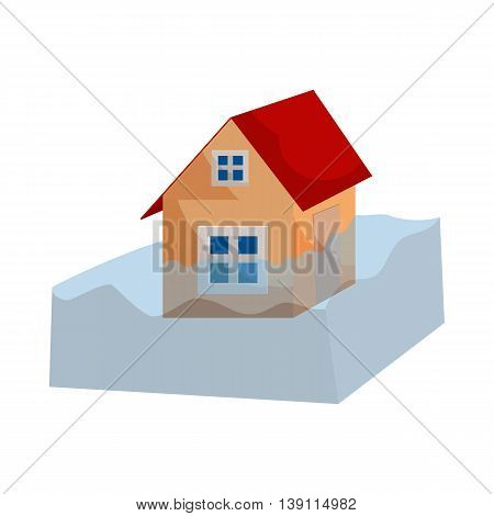 Flood insurance icon in cartoon style isolated on white background