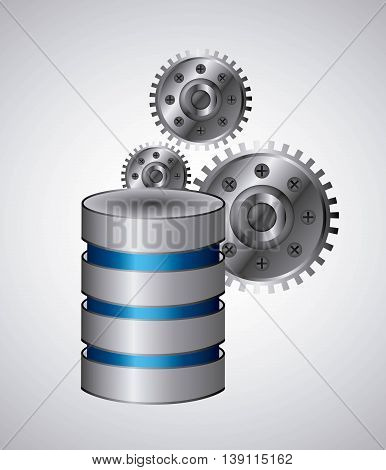 Data center concept represented by web hosting and gears icon. Colorfull and flat illustration.