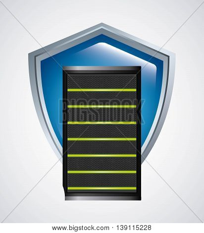 Data center concept represented by web hosting and shield icon. Colorfull and flat illustration.