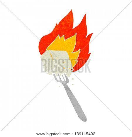freehand drawn retro cartoon flaming tofu on fork
