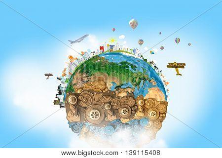 Mechanisms of world creation . Mixed media