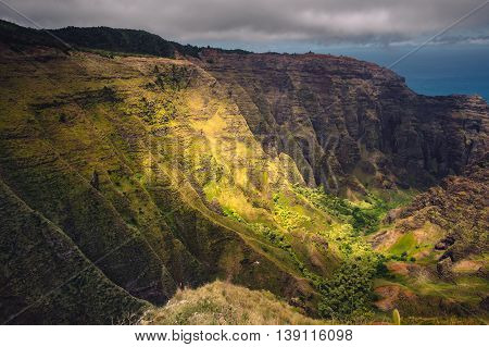 Dramatic Landscape View Of Na Pali Coastline, Cliffs And Valley