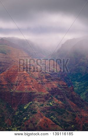 Landscape View Of Waimea Canyon During Misty Weather, Kauai