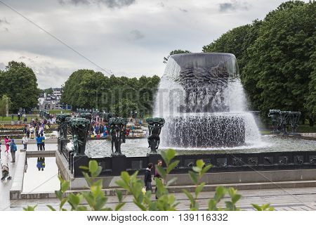 OSLO, NORWAY - JULY 1, 2016: This is world-famous Vigeland sculpture park the fountain.