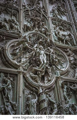 Famous Bronze Doors Of Milan Cathedral, Italy