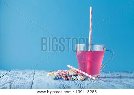 Glass Of Raspberry Milk Shake With Berries