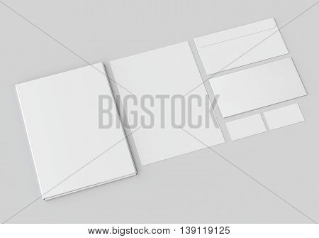 White stationery mock-up template for branding identity on gray background. For graphic designers presentations and portfolios.