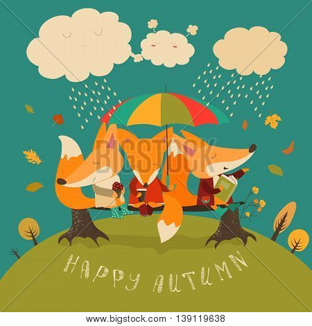 Cute foxes sitting under an umbrella on a log. Vector illustration