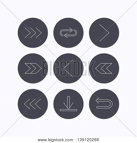 Arrows icons. Download, repeat linear signs. Next, back arrows flat line icons. Flat icons in circle buttons on white background. Vector