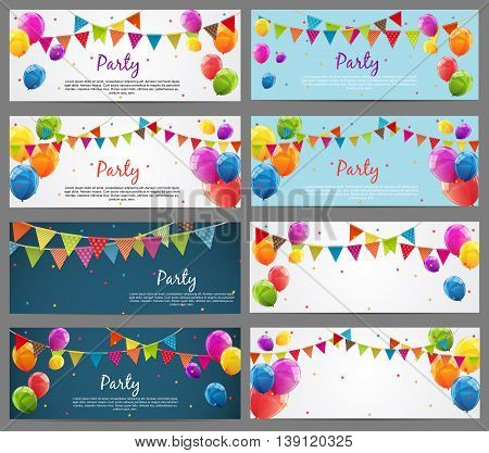 Party Background Baner Set with Flags and Balloons Vector Illustration. EPS10