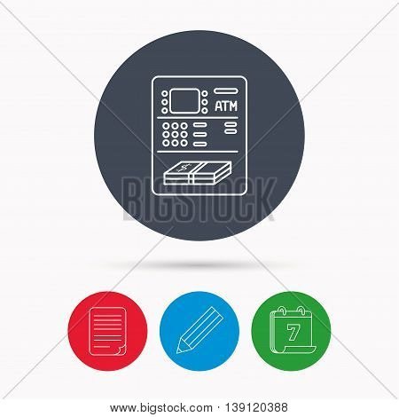 ATM icon. Automatic cash withdrawal sign. Calendar, pencil or edit and document file signs. Vector