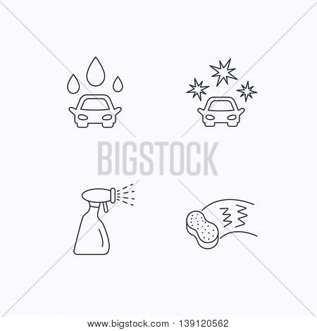 Car wash icons. Automatic cleaning station linear signs. Hand wash, sponge and spray flat line icons. Flat linear icons on white background. Vector