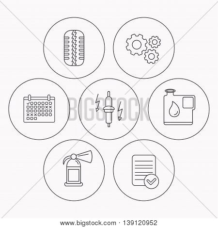 Wheel, fire extinguisher and spark plug icons. Fuel jerrycan, tire tread linear signs. Check file, calendar and cogwheel icons. Vector