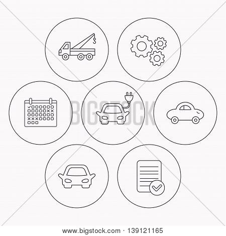 Electric car, evacuator and transport icons. Car linear signs. Check file, calendar and cogwheel icons. Vector