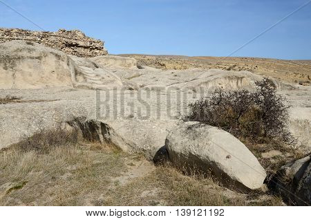 Rock formations of medieval archaeological complex cave town Uplistsikhe,eastern Georgia ,Caucasus, Central Asia, unesco heritage
