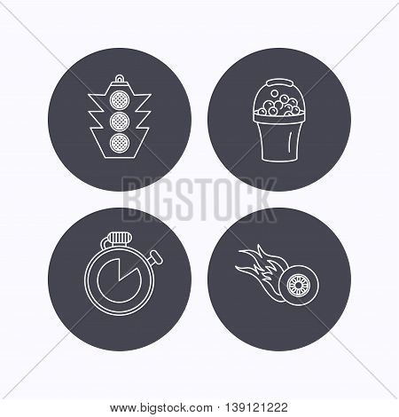 Race, traffic lights and speed icons. Bucket with foam, fire wheel linear signs. Flat icons in circle buttons on white background. Vector