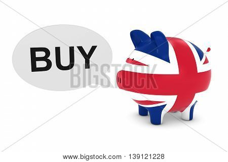 Uk Flag Piggy Bank With Buy Text Speech Bubble 3D Illustration