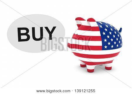 Us Flag Piggy Bank With Buy Text Speech Bubble 3D Illustration