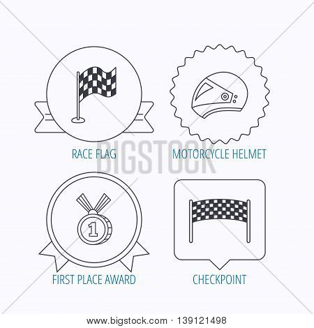 Race flag, checkpoint and motorcycle helmet icons. Winner award medal linear signs. Award medal, star label and speech bubble designs. Vector