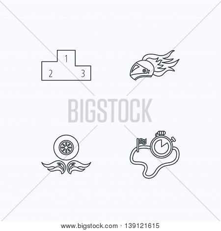 Winner podium, race timer and wheel on fire icons. Motorcycle helmet on fire linear sign. Flat linear icons on white background. Vector