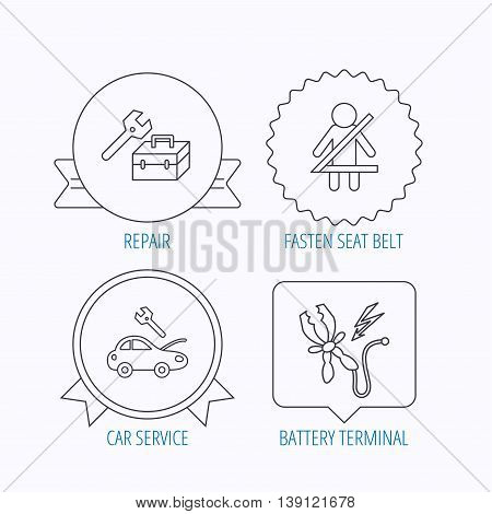 Repair, battery terminal and car service icons. Fasten seat belt linear sign. Award medal, star label and speech bubble designs. Vector