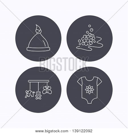 Baby clothes, bath bubbles and hat icons. Baby toys linear signs. Flat icons in circle buttons on white background. Vector