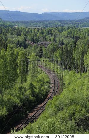 Outlook Over Railroad Track At Doeda Fallet In Sweden