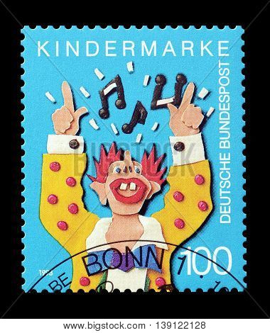 GERMANY - CIRCA 1993 : Cancelled postage stamp printed by Germany, that shows clown.