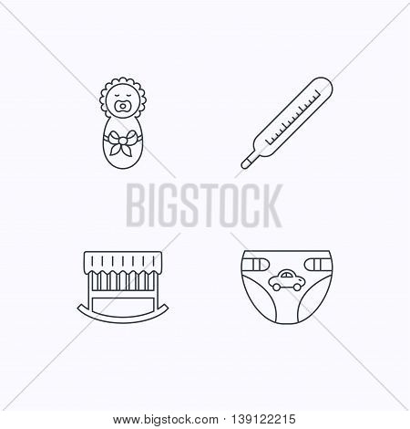 Newborn, diapers and thermometer icons. Cradle bed linear sign. Flat linear icons on white background. Vector