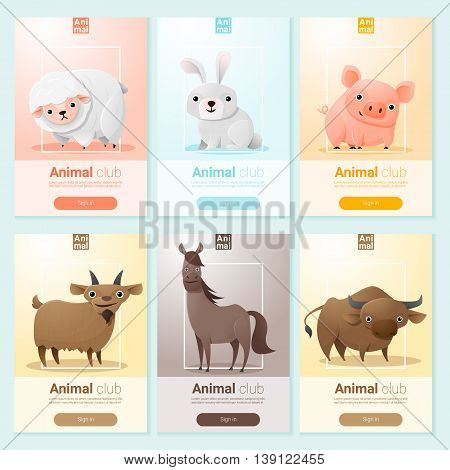 Farm animals banner for web design , vector , illustration