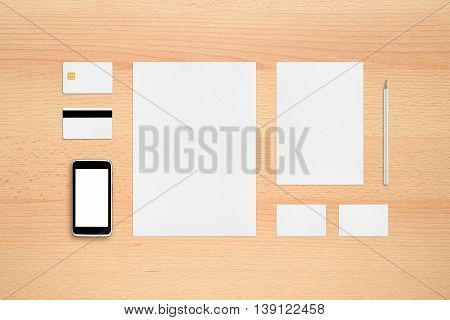 Template for branding identity - smartphone business cards pencil smart card magnetic stripe card letterheads.