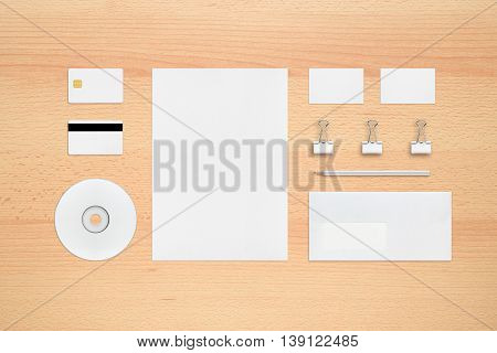 Template for corporate identity - letterhead business cards envelope pencil cd or dvd binder clip smart card magnetic stripe card