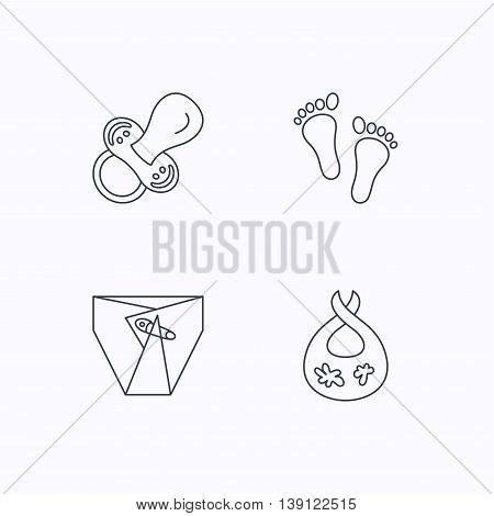 Pacifier, footprint and child diapers icons. Dirty bib linear sign. Flat linear icons on white background. Vector