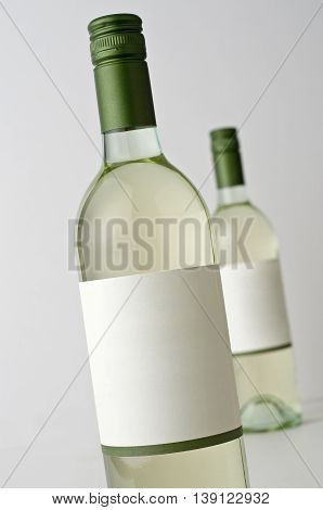 Two bottles of Sauvignon Blanc wine blank label ad your own text