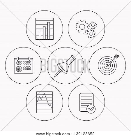 Pushpin, graph charts and target icons. Supply and demand linear signs. Check file, calendar and cogwheel icons. Vector