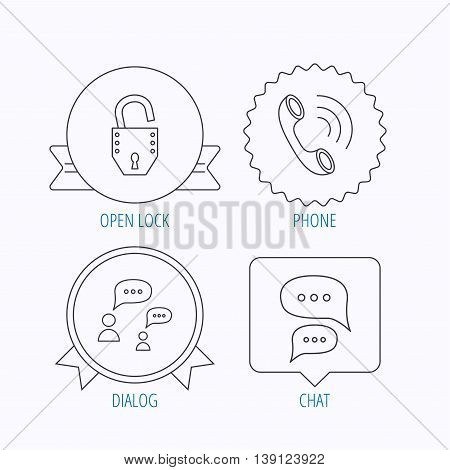 Phone call, chat speech bubbles and lock icons. Dialog linear sign. Award medal, star label and speech bubble designs. Vector