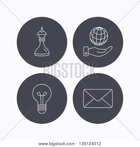 Strategy, save planet and mail envelope icons. Lamp lightbulb linear sign. Flat icons in circle buttons on white background. Vector
