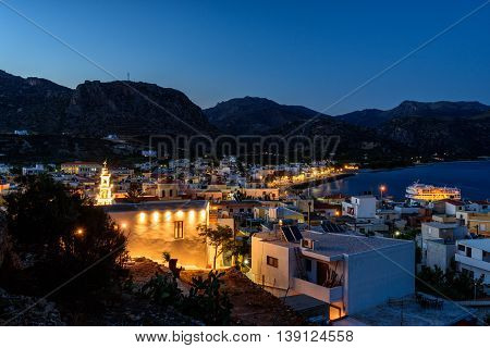 Night panorama of Paleochora town, located in western part of Crete island, Greece