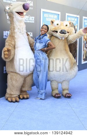 LOS ANGELES - JUL 17:  Keke Palmer, Ice Age Characters at the 'Ice Age: Collision Course' at the 20th Century Fox Lot on July 17, 2016 in Los Angeles, CA