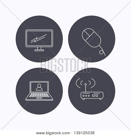 Wi-fi router, pc mouse and monitor tv icons. Webinar linear sign. Flat icons in circle buttons on white background. Vector