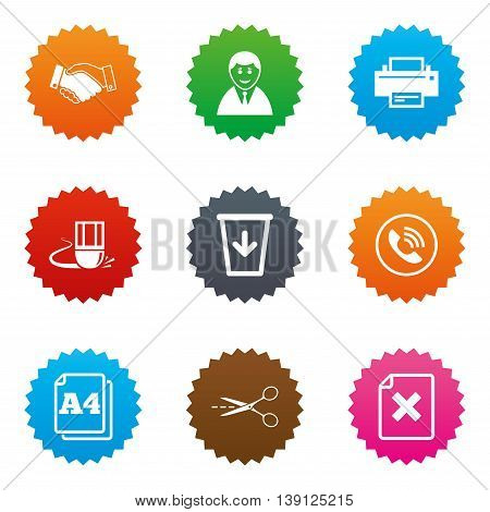 Office, documents and business icons. Printer, handshake and phone signs. Boss, recycle bin and eraser symbols. Stars label button with flat icons. Vector